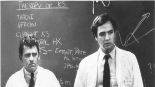 Dr. Paul Volberding, right, helps explain Kaposi's sarcoma in 1982. Photo courtesy Paul Volberding