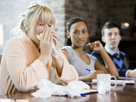 How quickly do germs spread in the office
