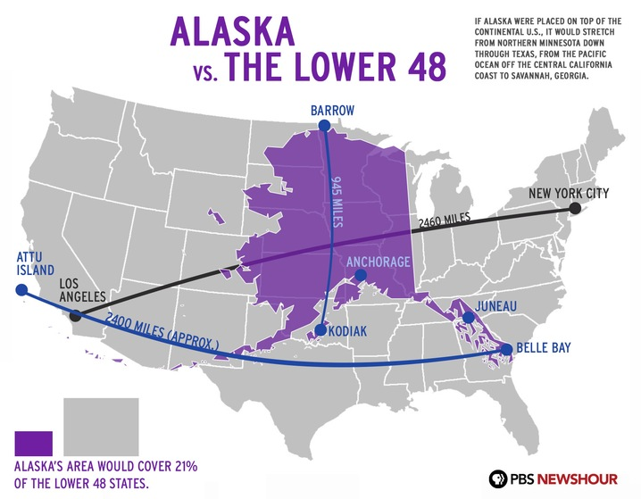 About Alaska Alaska Superimposed On The Continental US Misc - Alaska over the us map