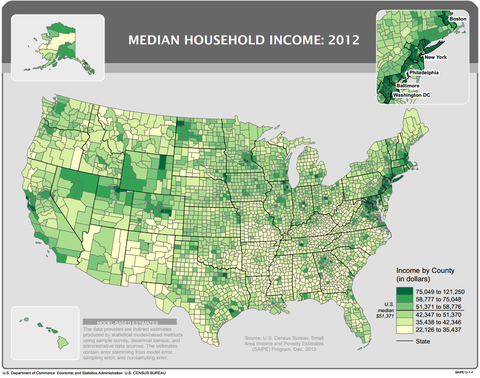 Americas Richest Counties Surround DC PBS NewsHour - Map of us and counties 2012