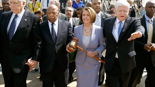 Reps. Steny Hoyer, John Lewis, Nancy Pelosi and John Larson/ Getty Images