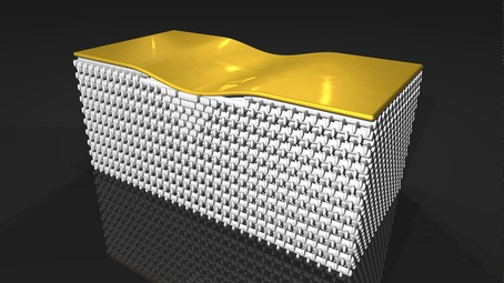 A crystal structure bends light around a small bump on a gold sheet, rendering it invisible/AAAS