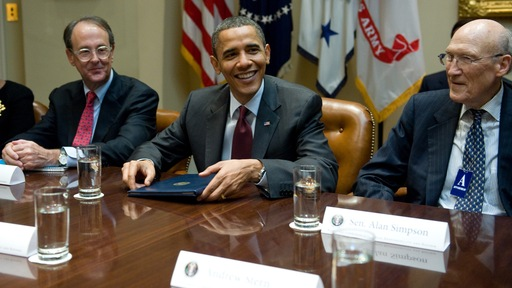 President Barack Obama with Erskine Bowles, left, and Alan Simpson; AFP/Getty photo