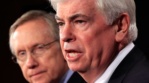 Sen. Chris Dodd, D-Conn., and Senate Majority Leader Harry Reid tout the reform push. (Getty)