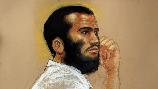 Courtroom sketch of Omar Khadr. Photo by Janet Hamlin/AFP/Getty Images