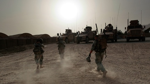 U.S. soldiers on patrol in southern Afghanistan. Photo by Getty Images.