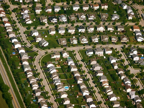 Chicago suburbs from the air; Flickr photo via Scorpions and Centaurs
