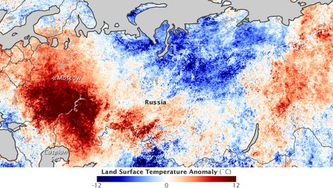Russia heatwave July 2010; NASA image