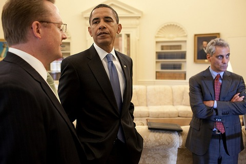 President Obama talks with Press Secretary Robert Gibbs; White House Photo by Pete Souza