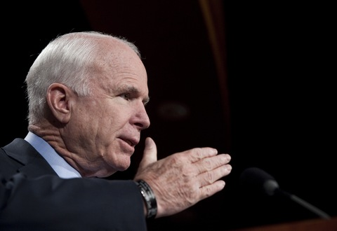 Sen. John McCain at a June campaign stop in Mesa, Ariz.; Photo by Joshua Lott/Getty Images