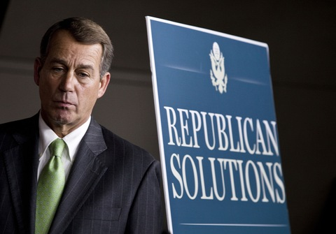 House Minority Leader John Boehner listens during a news conference in 2009; Getty Images file image