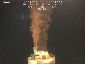 Researchers used high-resolution video clips of flow from the Deepwater Horizon well to measure volume; Courtesy Senate Committee on Environment and Public Works