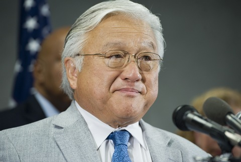 Rep. Mike Honda, D-Calif., speaks during a news conference; Photo By Tom Williams/Roll Call via Getty Images