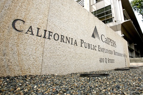 The offices of the California Public Employees' Retirement System; Ken James/Bloomberg via Getty Images
