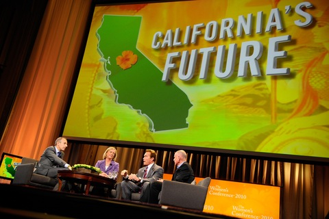 Matt Lauer, Meg Whitman, Gov. Arnold Schwarzenegger and Jerry Brown