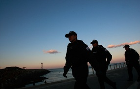 Special police patrol at the port of Yeonpyeong Island; Chung Sung-Jun/Getty Images