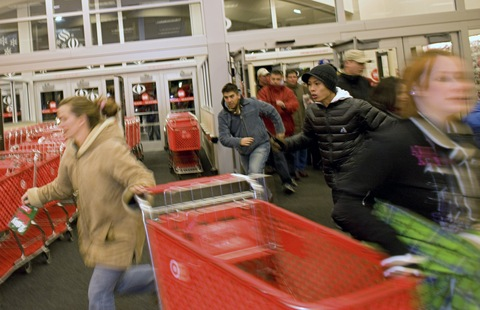 Shoppers rush in at the opening of a Super Target store in Thornton, Colorado; Matthew Staver/Bloomberg via Getty Images 