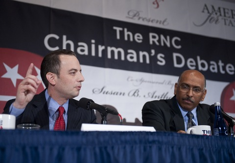 Reince Priebus, left, and Republican National Committee chief Michael Steele