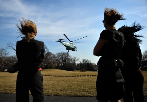 Marine One with President Obama on board