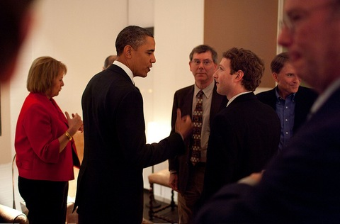 President Barack Obama talks with Facebook founder and CEO Mark Zuckerberg; Official White House Photo by Pete Souza