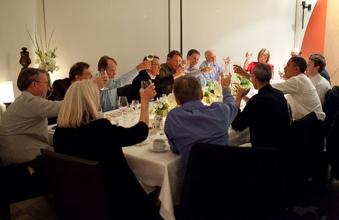 President Barack Obama joins a toast with Technology Business Leaders; Official White House Photo by Pete Souza