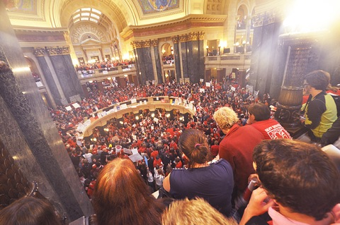 Crowd inside Wisconsin Capitol on Feb. 17; Flickr Creative Commons photo courtesy Peter Patau