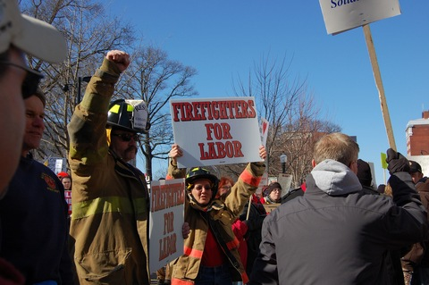 Firefighters at Feb. 19 rally in Madison, Wis.; Flickr Creative Commons photo courtesy CindyH Photography flickr.com/wxmom/