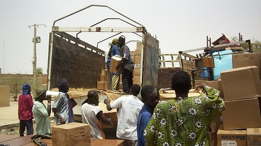 Unloading hospital supplies in Timbuktu, Mali. Photo courtesy of Project C.U.R.E.