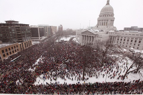Protests at the Wisconsin capitol; Scott Olson/Getty Images