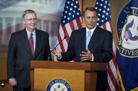 Speaker John Boehner, R-Ohio, right, and Senate Minority Leader Mitch McConnell, R-Ky., conduct a news conference in the Capitol Visitor Center to discuss spending cuts. (Tom Williams/Roll Call)