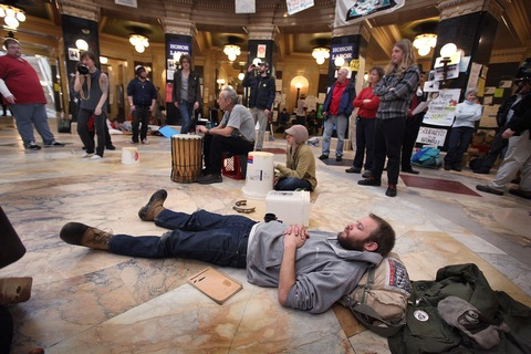 Wisconsin protesters; photo by Scott Olson/Getty Images