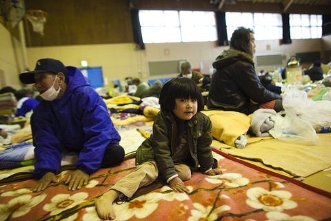 Earthquake victims gather at the evacuation center in Kamaishi on March 24, 2011 in Iwate Prefecture, Japan.  (Athit Perawongmetha/Getty Images) 