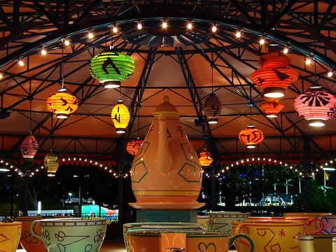 Disney - Mad Tea Party at Night; Creative Commons photo courtesy flickr.com/expressmonorail/
