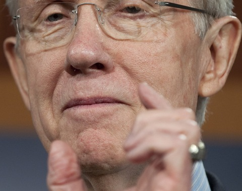 Senate Majority Leader Harry Reid gestures during a news conference Thursday; SAUL LOEB/AFP/Getty