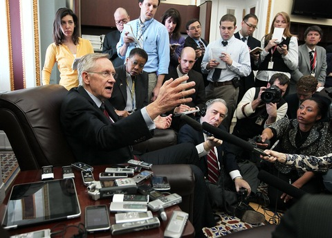 Senate Majority Leader Sen. Harry Reid, D-Nev., speaks to members of the press during a news briefing April 8, 2011 on Capitol Hill. (Alex Wong/Getty Images)