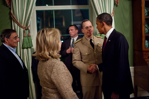 President Obama shakes hands with Adm. Mike Mullen after his statement about the mission against Osama bin Laden. CIA Director Leon Panetta and Secretary of State Hillary Rodham Clinton are pictured at left. (White House photo by Pete Souza)