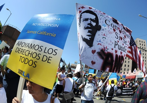 Immigration protest; photo by Gabriel Bouys/AFP/Getty Images