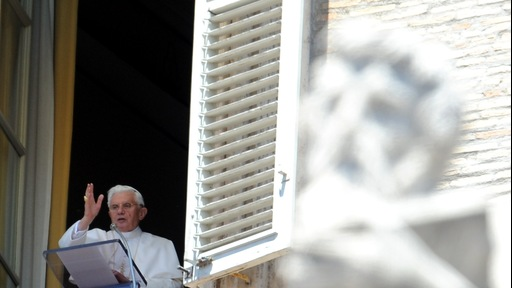 Pope Benedict XVI overlooking St Peter's Square. Photo by Tiziana Fabi/AFP/Getty Images