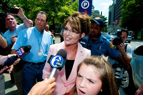  Sarah Palin speaks with the press outside the Liberty Bell Center as daughter Piper looks on in Philadelphia; Photo by Jeff Fusco/Getty Images