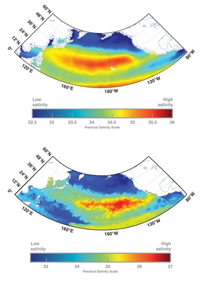 The level of detail from historical ocean salinity data (top) compared to the detail that will be available from Aquarius ocean surface salinity measurements (bottom)
