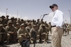 Secretary of Defense Robert Gates meets with troops on June 6, 2011 at Combat Outpost Andar in Ghazni Province, Afghanistan. (Jason Reed - Pool/Getty Images)