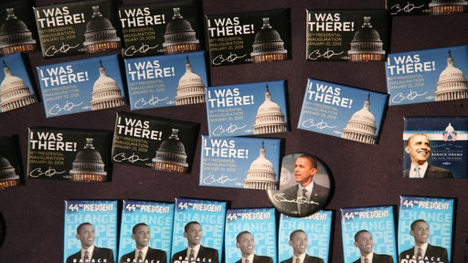 Buttons for sale at President Obama's 2009 inauguration. Photo by Aileen Humphreys/PBS NewsHour.