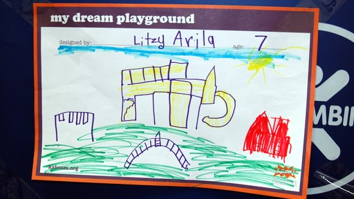 Child's poster of playground. Photo by Rebecca Jacobson
