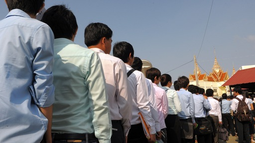Cambodian students line up to attend trial. Photo by Tang Chhin Sothy/AFP/Getty Images