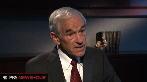 Rep. Ron Paul speaks with Judy Woodruff