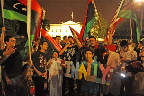 Libyans cheering at the White House; Photo by Stephane Jourdain/AFP/Getty Images