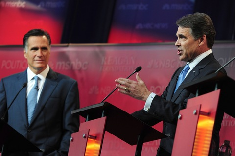 Mitt Romney and Rick Perry; photo by Robyn Beck/AFP/Getty Images