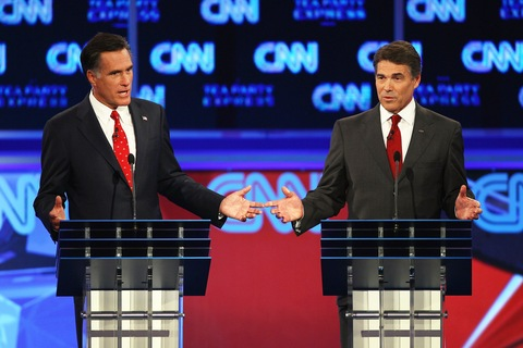 Mitt Romney and Rick Perry; photo by Win McNamee/Getty Images