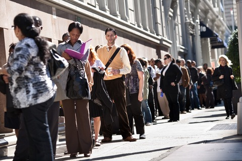 Job seekers wait on line 