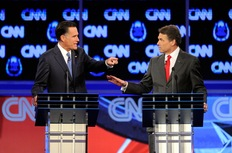 Mitt Romney and Rick Perry; photo by Ethan Miller/Getty Images